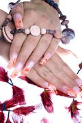hands and Nails with Airbrush design - stock photo