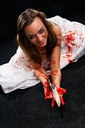 portrait of the woman in blood - stock photo