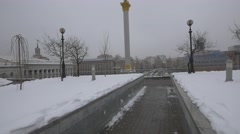 Independence Square in a winter day in Kiev, Ukraine - stock footage