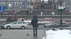 Bear mascot near the Independence Square, Kiev - stock footage