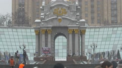 The Independence Monument in a winter day in Kiev - stock footage