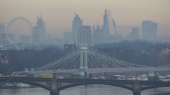 Central London skyline with winter sunrise Stock Footage