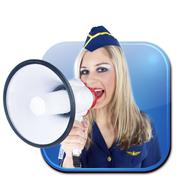 app sign stewardess with megaphone - stock photo