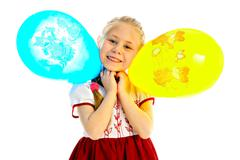 girlie with balloon - stock photo