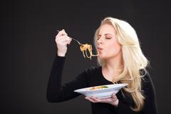 Model with spagetti Stock Photos