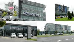 4K montage (compilation) - headquarter of Mercedes Benz - building with cars Stock Footage