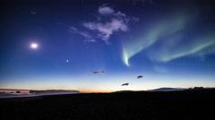 Reynisfjara beach, Dyrholaey sea arches starry sky Aurora borealis Iceland Stock Footage