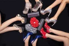 Female legs with high heels Stock Photos