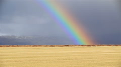 Intense rainbow in grassy hay field, mountain background, stormy sky, Iceland Stock Footage