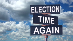 Election Time Again Political Street Sign With Time Lapse Clouds - stock footage