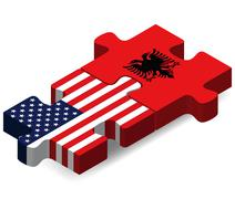 USA and Albania Flags in puzzle - stock illustration