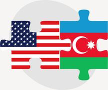 Stock Illustration of USA and Azerbaijan Flags in puzzle