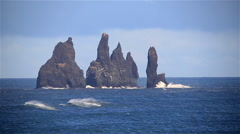 Sea bird colony flock Reynisdrangar sea stack formations, Vik, Iceland Stock Footage