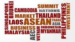 Association of Southeast Asian Nations relative tags cloud - stock footage