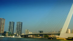 The Erasmus Bridge links diferent regions of Rotterdam. - stock footage