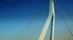 The Erasmus Bridge links diferent regions of Rotterdam. Stock Footage