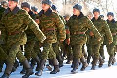 09.01.2009 Russia, Ostrogozhsk, military oath Stock Photos