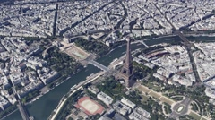 Tour Eiffel Paris Aerial Stock Footage