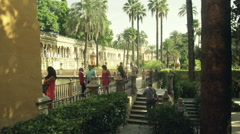Tourists sightseeing Alcazar in Seville, Spain HD - stock footage