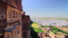 Cityscape of Jodhpur shot from the Mehrangarh Fort, Rajasthan, India Stock Footage