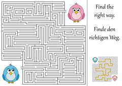 find the right way through the maze - stock illustration