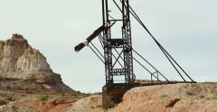 Uranium Badlands Temple Mountain Utah Abandoned Mining Area Giant Rig Pan Shot Stock Footage