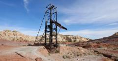 Uranium Badlands Temple Mountain Utah Abandoned Mining Area Giant Rig Stock Footage