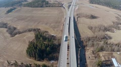 Highway traffic, aerial footage Stock Footage