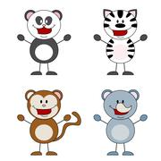 panda, zebra, monkey, rhino - stock illustration