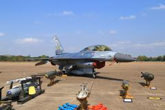 F-16 show on children's Day at Korat Wing 1 Royal Thai Airforce - stock photo