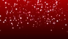 Christmas red background with snowflakes falling snow holiday xmas with stars Stock Footage