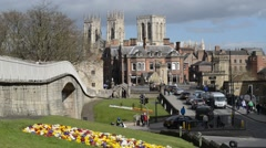 Medieval city walls and majestic york minster uk Stock Footage