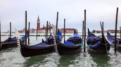 Gondolas in Venice Near St. Mark's Square During a Cloudy Day Stock Footage