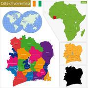 Ivory Coast map Stock Illustration