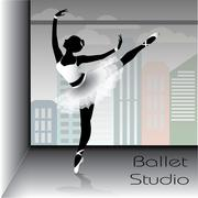Ballet dancer silhouette, vector illustration. - stock illustration