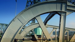 Railway lift bridge De Hef designed in 1927, is an industrial monument today. Stock Footage