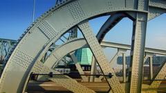 Railway lift bridge De Hef designed in 1927, is an industrial monument today. Stock Footage