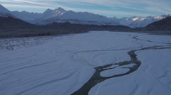 Alaska Scenic Aerial Chilkat Mountains Klehini River Winter Stock Footage