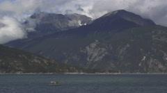 Alaskan Fishing Boat with Net in Choppy Seas Scenic 4K Stock Footage