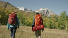 Wide tracking shot of couple hiking near mountain / American Fork Canyon, Utah, Stock Footage