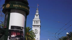 Ferry building and news stand Stock Footage