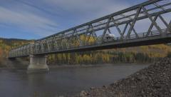 Cabover Camper RV Heading South Crossing Stikine River Bridge Low An Stock Footage