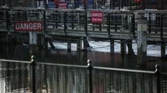 Weir danger sign Stock Footage