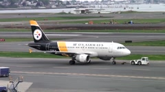 Pittsburgh Steelers football airplane, USAirways Stock Footage