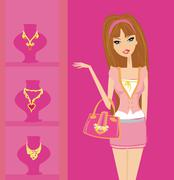 Stock Illustration of Girl and jewellerys - shopping