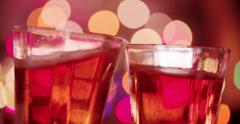 Celebration Festivities Champagne Toast in Angled Glasses Close Slow Stock Footage