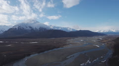 Chilkat Alaska Braided River and Mountains Aerial Stock Footage