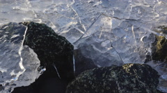 Clear Crystal Ice Plates Trapped Upright on Beach Rocks Rotation Sli Stock Footage