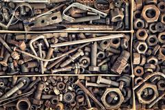 Set of old fastening elements in vintage style as a background Stock Photos