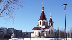 Orthodox church view in spring day Stock Footage